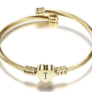 TTJB Heart shaped initial cuff bracelet