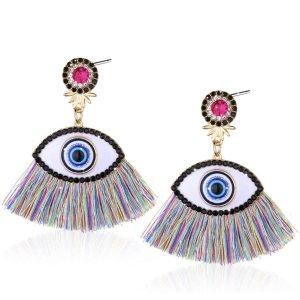 Evil Eye Tassel Earrings